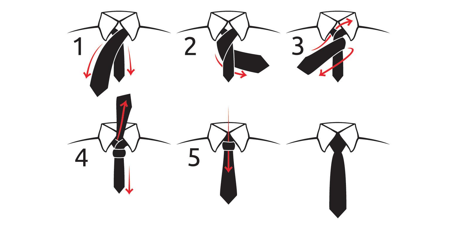 Как завязать галстук пошагово фото простой узел